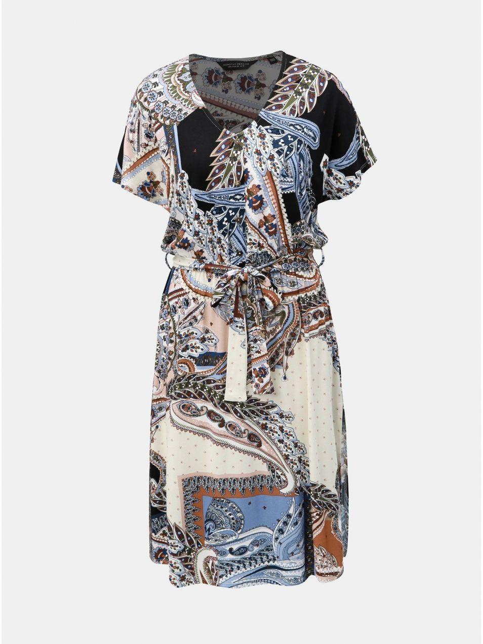 e5d349132dfe Modro–krémové vzorované šaty s rozparkami Dorothy Perkins značky ...