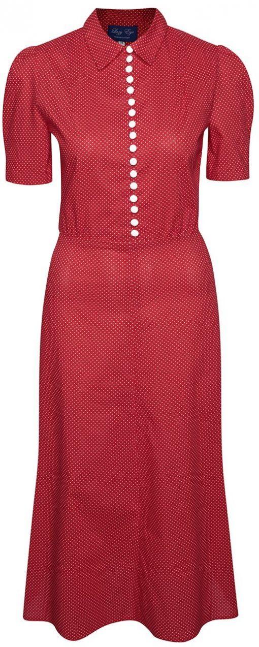 Červené bodkované retro šaty s gombíkmi Lazy Eye Marlen značky Lazy ... a55f6710bd0