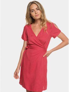 ea99a6e5a591 Červené bodkované zavinovacie šaty s prestrihmi Roxy Monument View