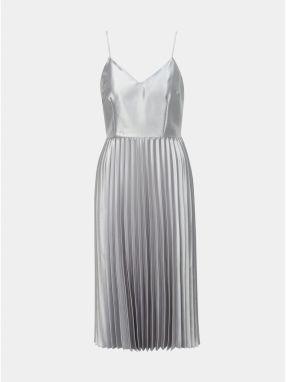 612351ff26eb Plisované šaty v striebornej farbe Dorothy Perkins