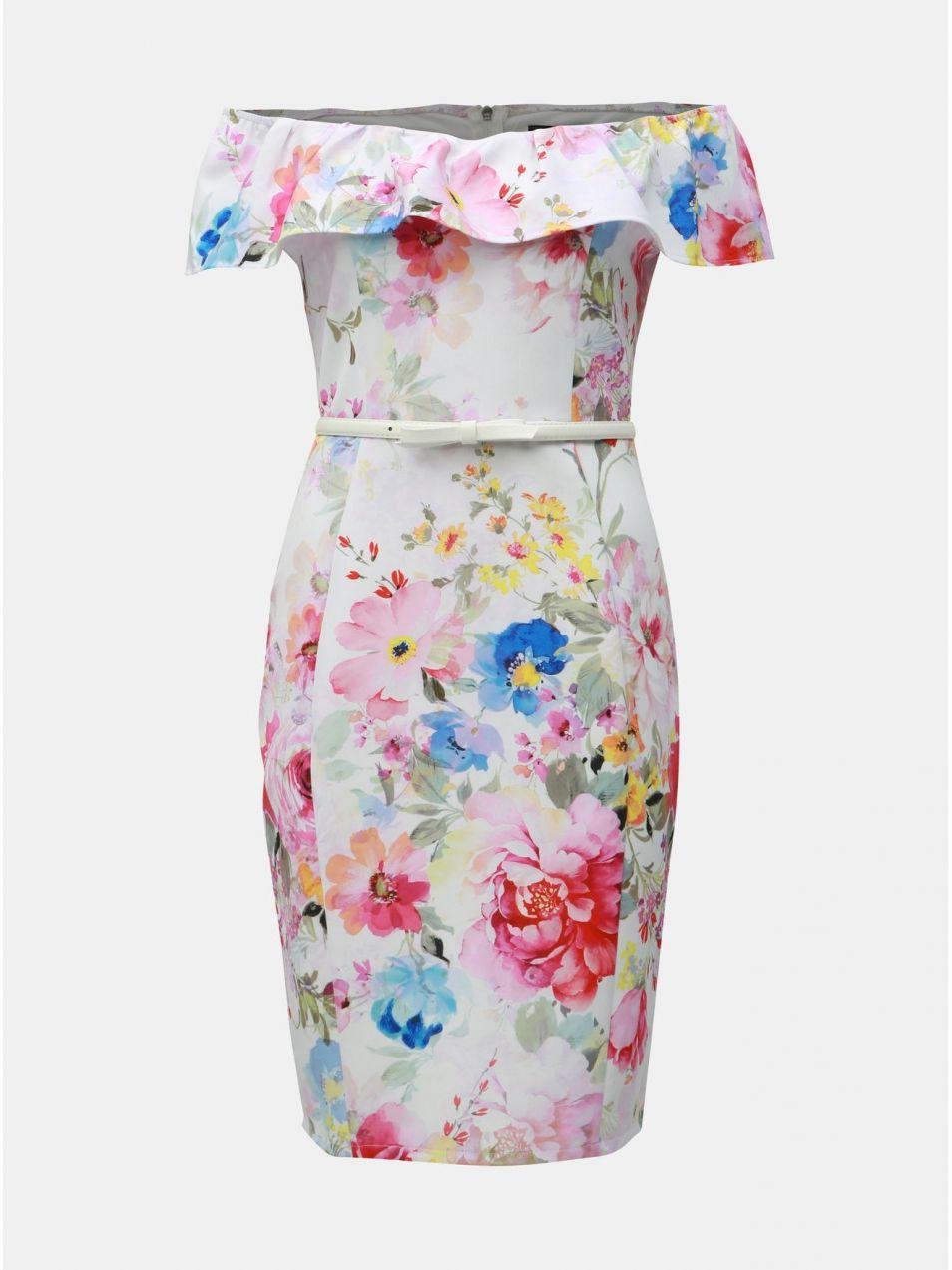 9821cfbfe89c Biele kvetované puzdrové šaty s odhalenými ramenami Dorothy Perkins ...