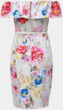 1471dfd4b034 Biele kvetované puzdrové šaty s odhalenými ramenami Dorothy Perkins galéria