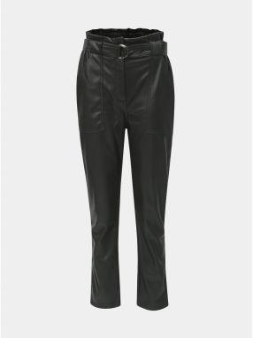 d57f2848e732 Čierne koženkové nohavice s opaskom a vysokým pásom TALLY WEiJL