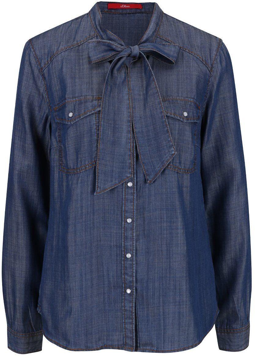 32f1b93ebdb7 Tmavomodrá dámska rifľová košeľa s viazankou s.Oliver značky s.Oliver -  Lovely.sk