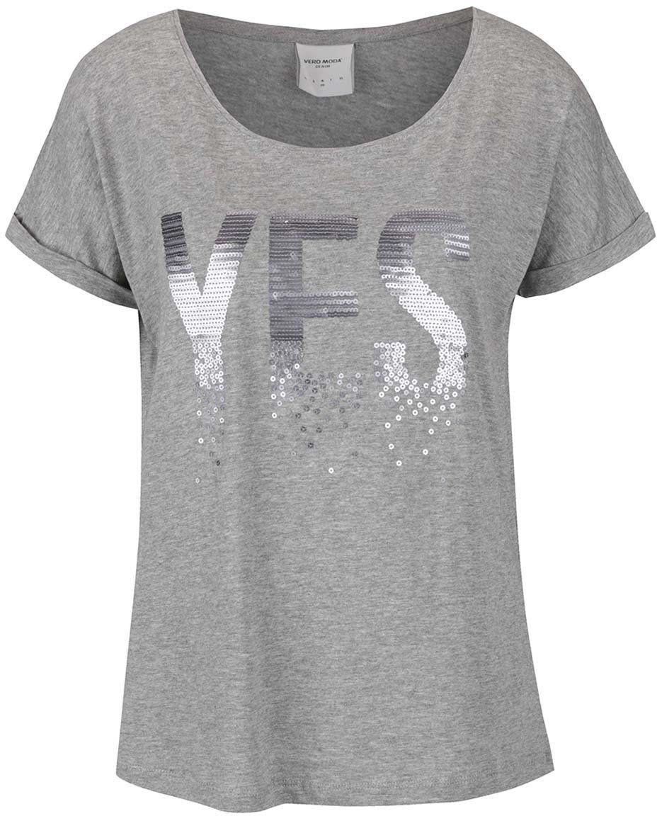 d1941a807b58 Sivé tričko s nápisom z flitrov Vero Moda Gothic značky Vero Moda -  Lovely.sk