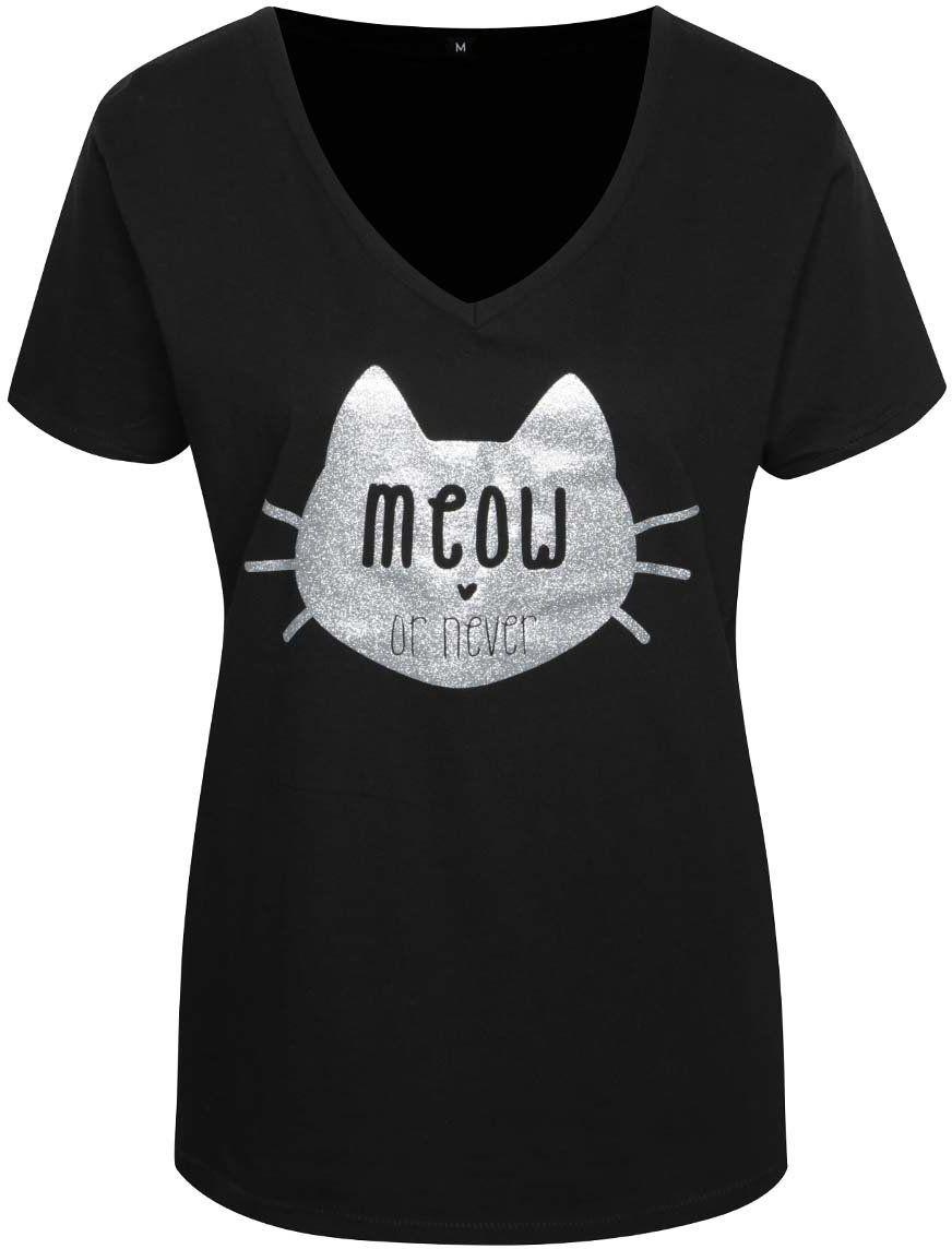 7bf240a9692d Čierne dámske tričko s potlačou ZOOT Originál Meow or never značky ZOOT  Originál - Lovely.sk