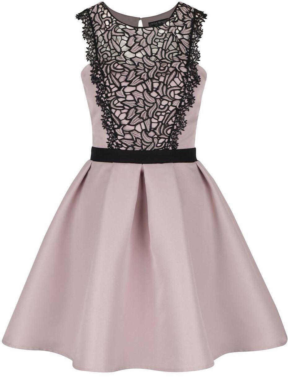 2cdd4d1dceb4 Staroružové šaty s čiernym čipkovým detailom Little Mistress značky Little  Mistress - Lovely.sk