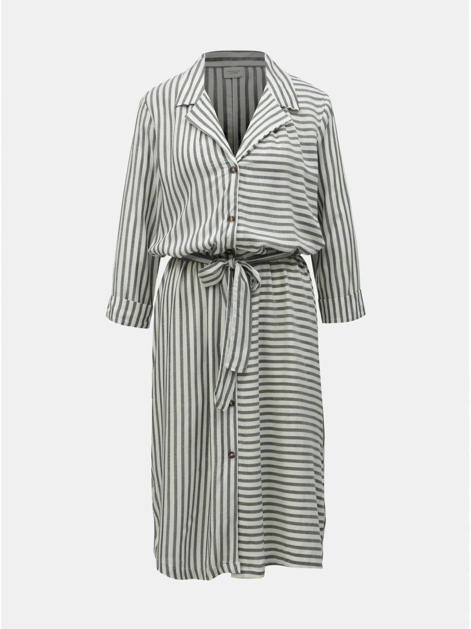 4b0d99b32360 Sivo–biele pruhované košeľové šaty Jacqueline de Yong Karla značky ...
