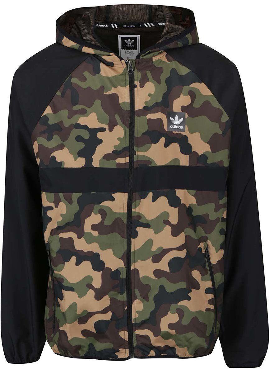 8d438fa35afab Zeleno-čierna maskáčová pánska bunda s kapucňou Adidas značky adidas  Originals - Lovely.sk