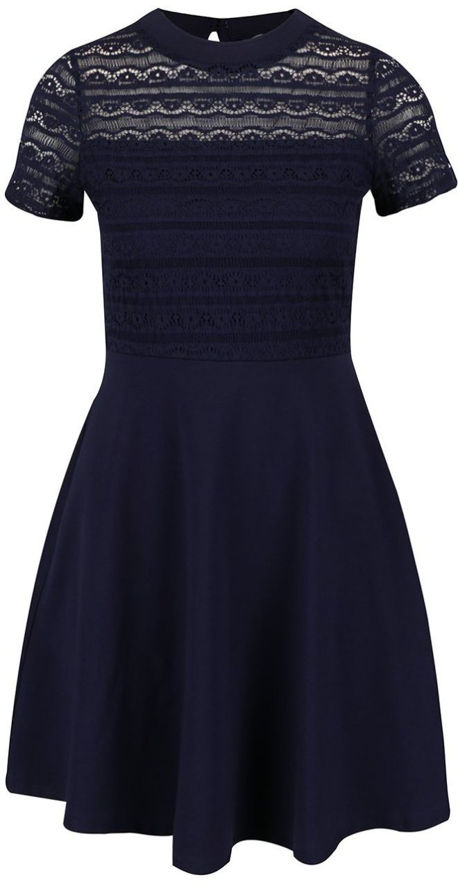 Tmavomodré šaty s čipkovaným topom Dorothy Perkins Pepite značky Dorothy  Perkins Petite - Lovely.sk 97a8d1bd211