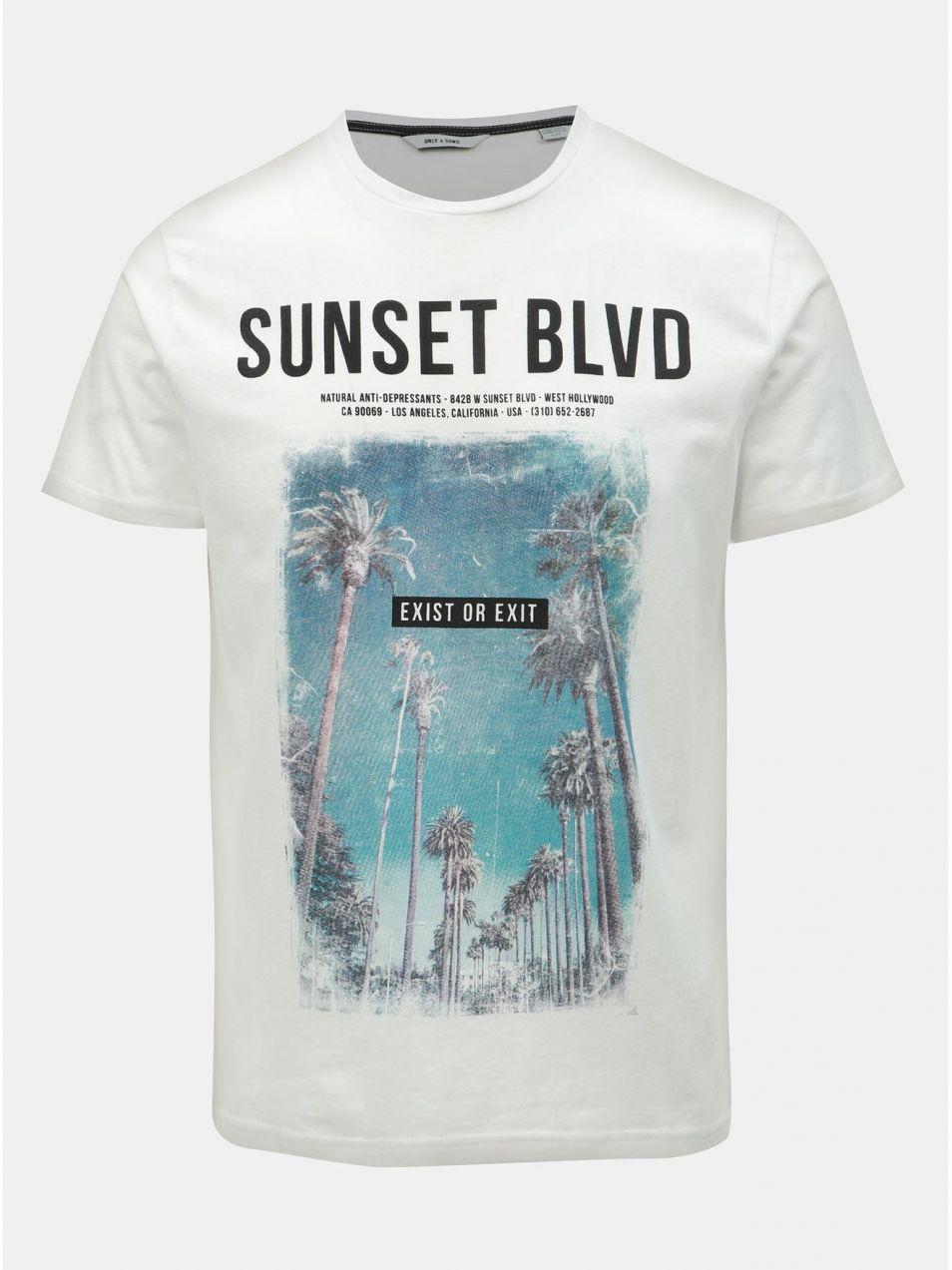 127a2ff4afc27 Biele tričko s potlačou ONLY & SONS Lamani značky ONLY & SONS ...