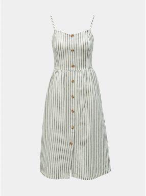 440feed190e8 Biele pruhované šaty na ramienka s prímesou ľanu ONLY Luna