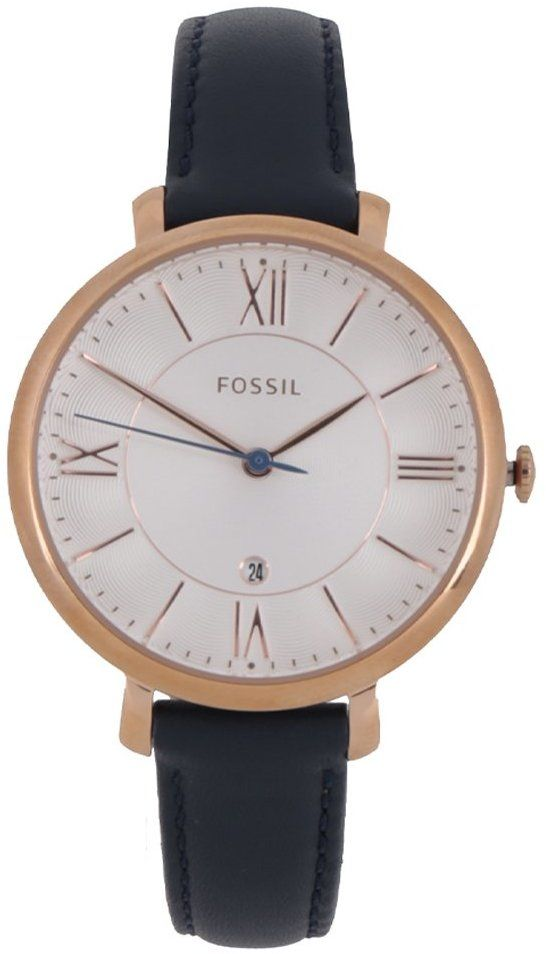 1e1b8d44fd79 Dámske hodinky v zlatej farbe s tmavomodrým koženým remienkom Fossil  Jacqueline značky Fossil - Lovely.sk