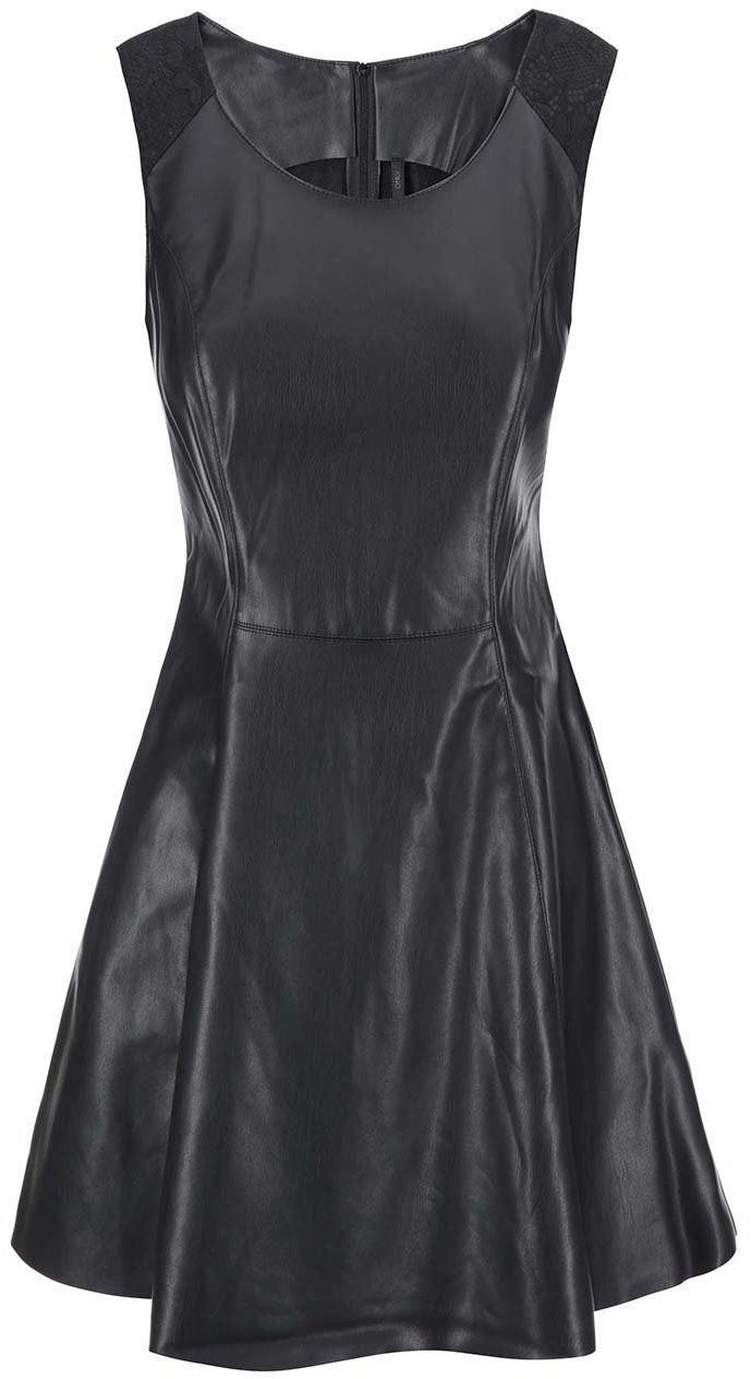 59176bb855f Čierne koženkové šaty ONLY Flower