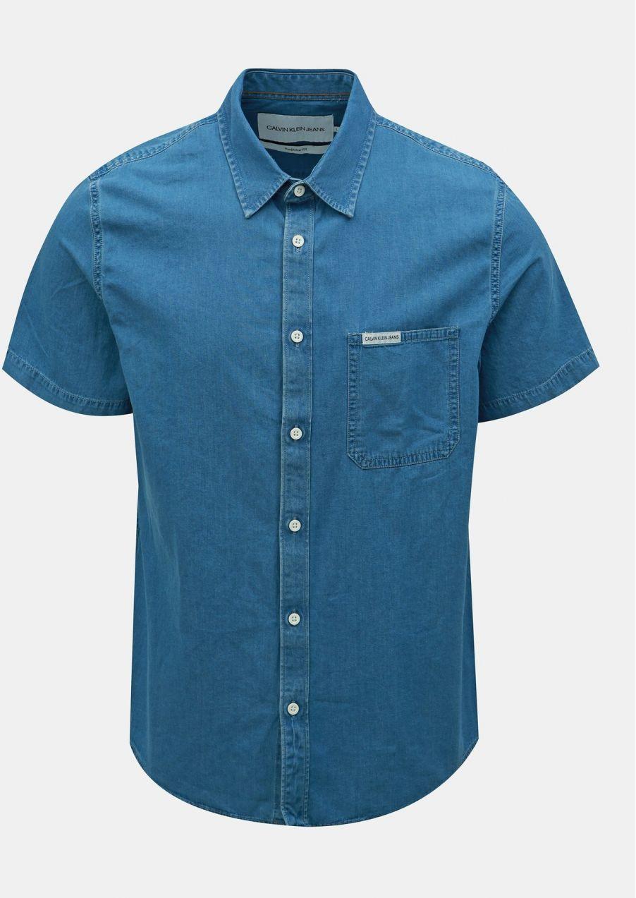 f4056c47ba09 Modrá pánska rifľová regular fit košeľa Calvin Klein Jeans značky ...