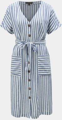 ed554323c01f Bielo–modré pruhované šaty s prímesou ľanu Dorothy Perkins