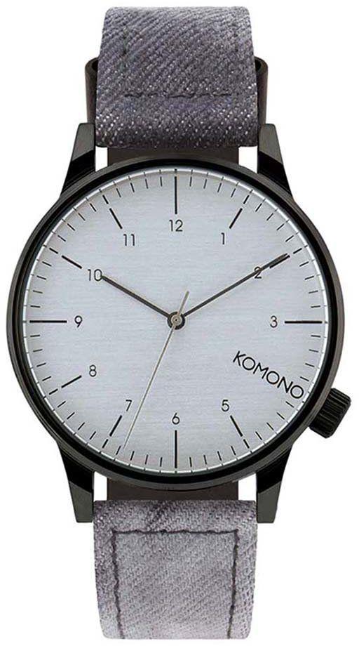 e3f9fa6e6 Čierne pánske hodinky s čierno-sivým rifľovým remienkom Komono Winston  Heritage značky Komono - Lovely.sk