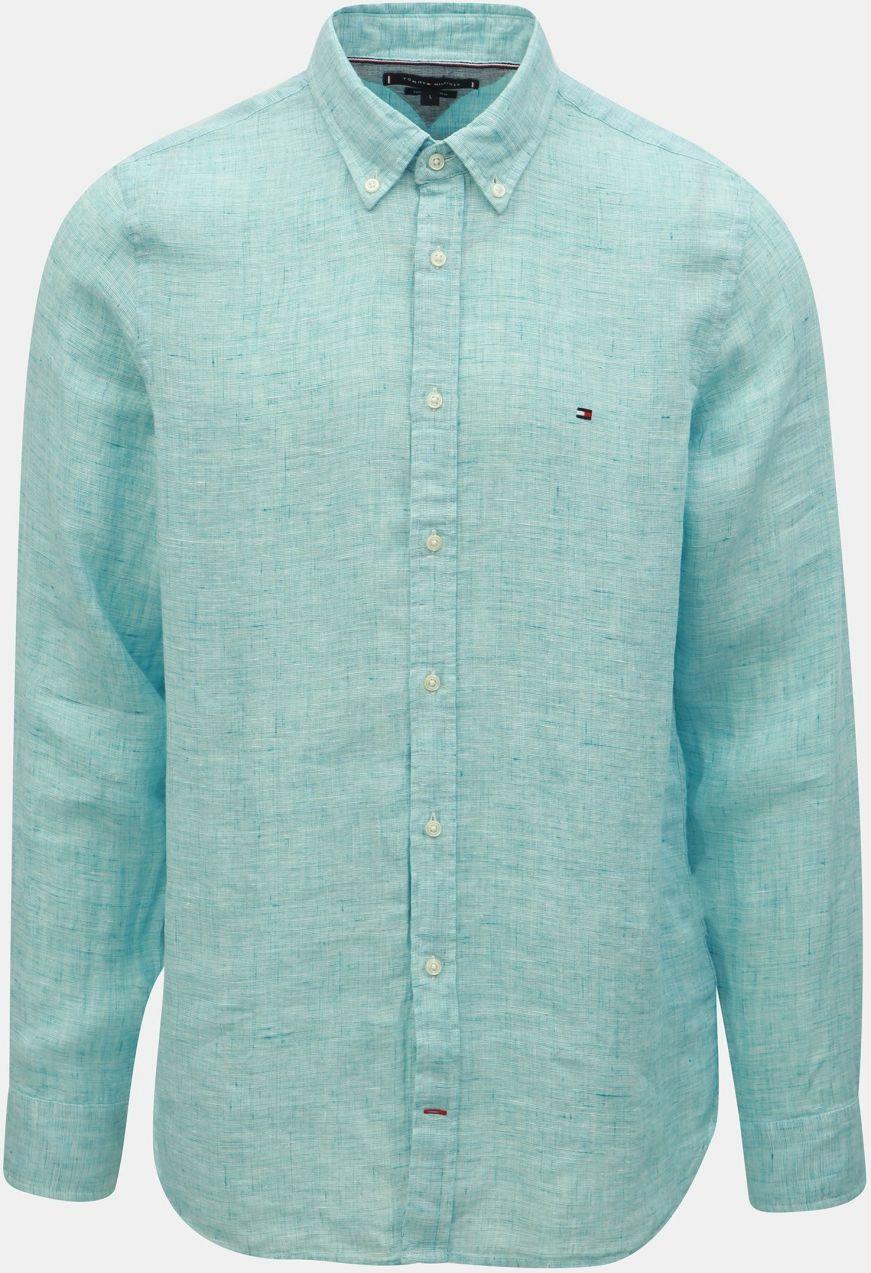 b1c86d2f5616 Svetlomodrá pánska ľanová slim fit košeľa Tommy Hilfiger značky ...