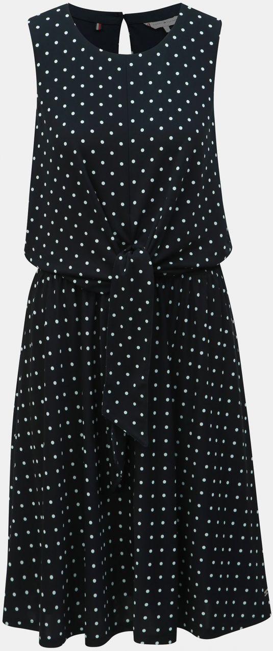 14c5a8c898c9 Čierne bodkované šaty so zaväzovaním Tommy Hilfiger Barbara značky ...