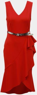 84d4bfc3e072 Červené puzdrové šaty s volánom Dorothy Perkins