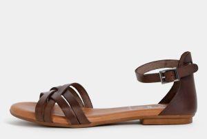 872ce483511f Tmavohnedé kožené sandále OJJU