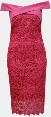 e01cdc1621c5 Tmavoružové čipkované puzdrové šaty s odhalenými ramenami Paper Dolls