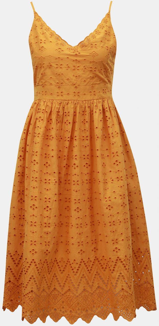 62d2d66fb139 Horčicové šaty na ramienka s madeirou Dorothy Perkins Petite značky ...