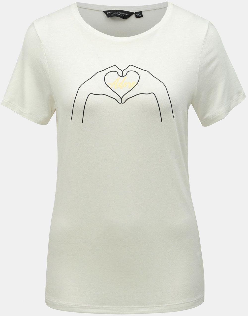 db7091672461 Biele tričko s potlačou Dorothy Perkins značky Dorothy Perkins ...