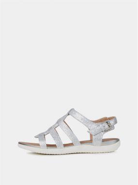 8948bc719a Dámske kožené sandále v striebornej farbe Geox Sand Vega