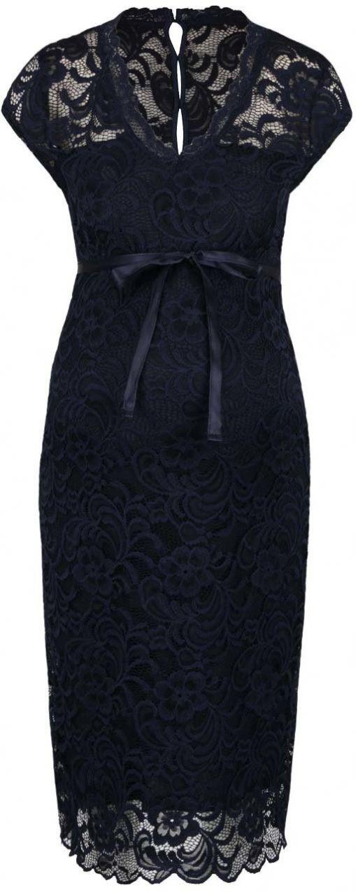 Tmavomodré čipkované tehotenské šaty Mama.licious New Mivana značky Mama. licious - Lovely.sk 48b78a0e740