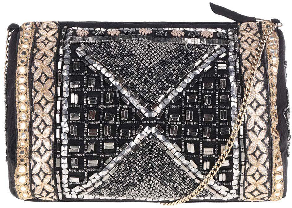 e4432c9be5 Čierna crossbody kabelka s korálikmi v zlatej a striebornej farbe Miss  Selfridge značky Miss Selfridge - Lovely.sk