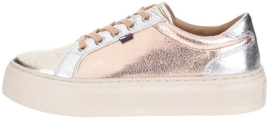 Ružovo-zlato-strieborné dámske tenisky na platforme Tommy Hilfiger značky  Tommy Hilfiger - Lovely.sk 9fbd05624dd