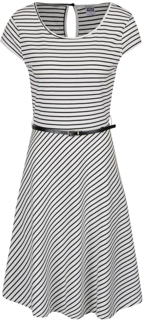 bb6682ba69 Čierno-biele pruhované šaty s opaskom Vero Moda Vigga značky Vero Moda -  Lovely.sk