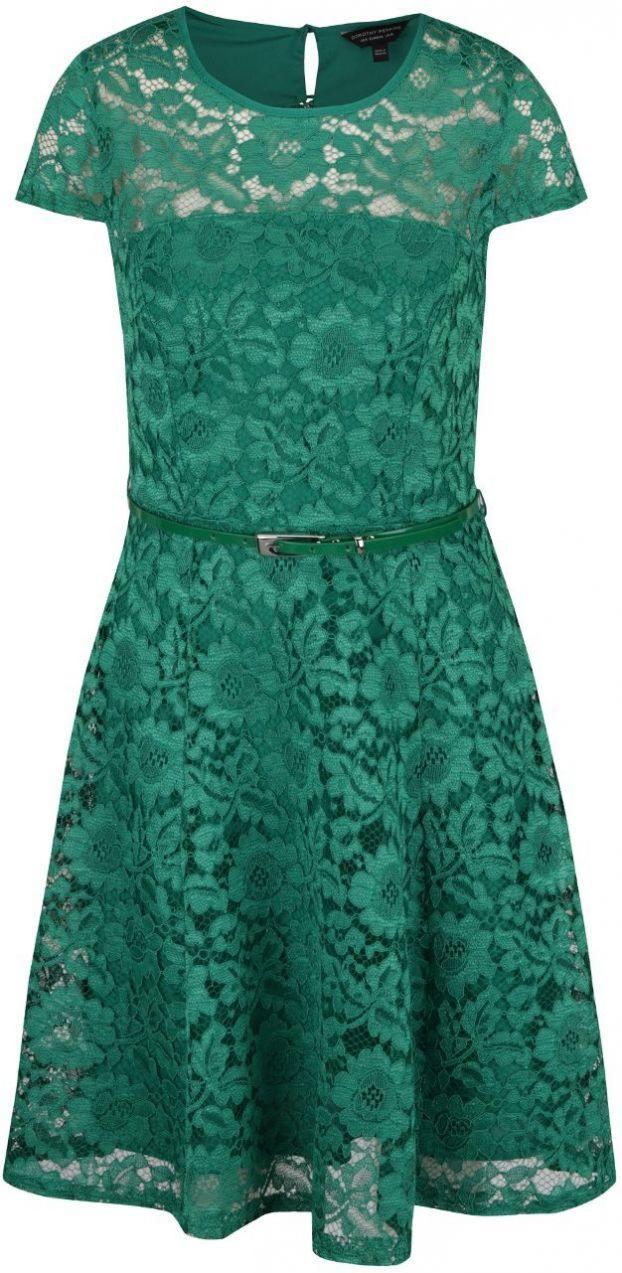 c68c144032e9 Zelené čipkované šaty s opaskom Dorothy Perkins značky Dorothy Perkins -  Lovely.sk