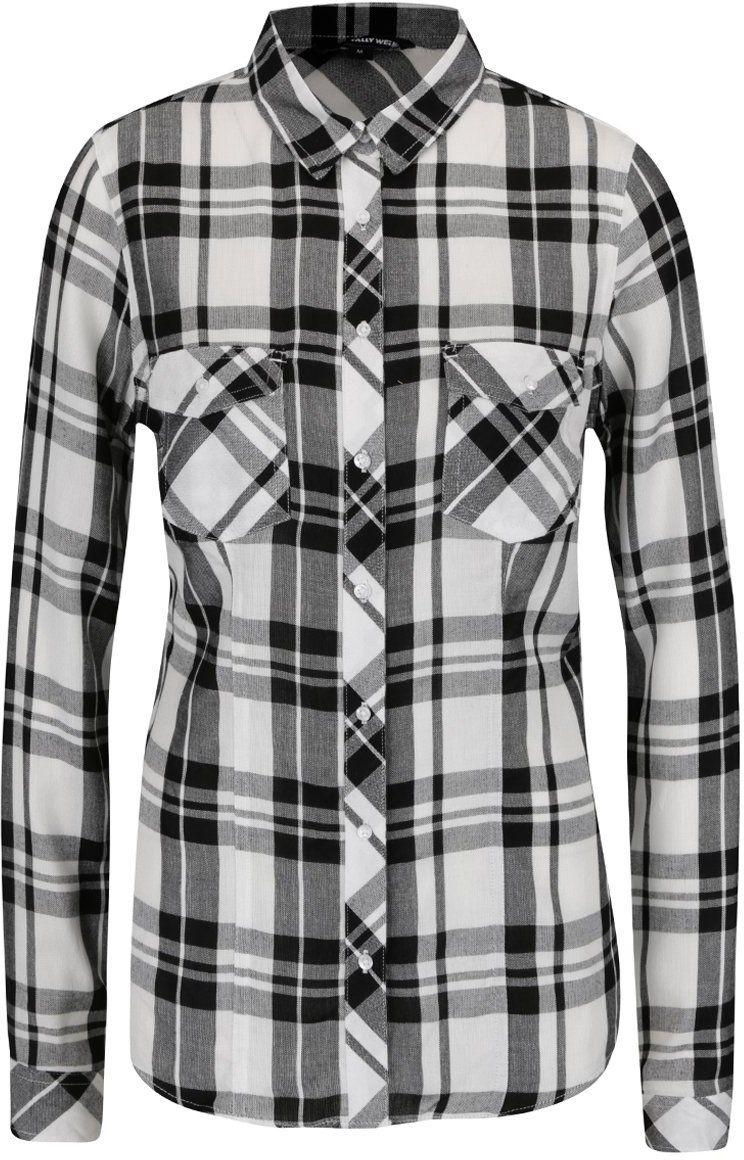 6317bd5aeae7 Čierno-biela károvaná košeľa s vreckami TALLY WEiJL značky TALLY WEiJL -  Lovely.sk
