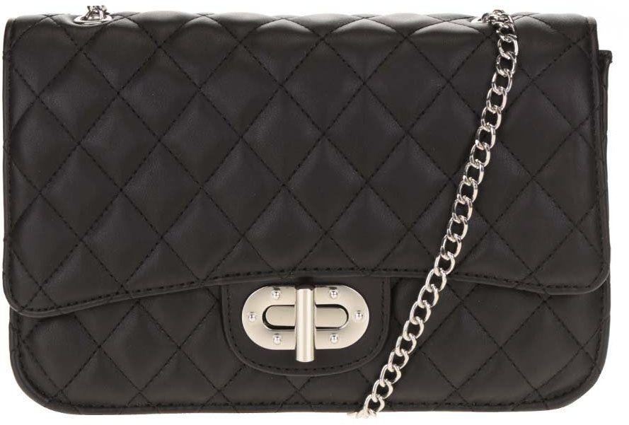 Čierna prešívaná crossbody kabelka s retiazkou v striebornej farbe Pieces  Miss značky Pieces - Lovely.sk b326735ec75