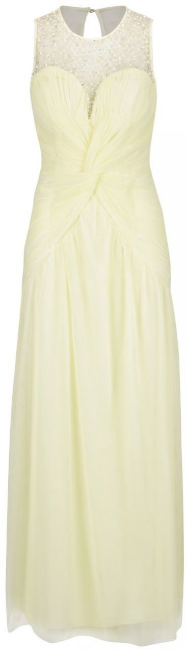 05ca554ad87e Svetložlté dlhé šaty s riasením a kamienkovou aplikáciou Little Mistress  značky Little Mistress - Lovely.sk