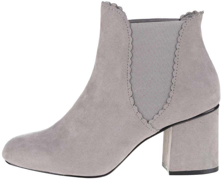d2f9c7c6ae1d Sivé členkové topánky na podpätku v semišovej úprave Dorothy Perkins značky  Dorothy Perkins - Lovely.sk