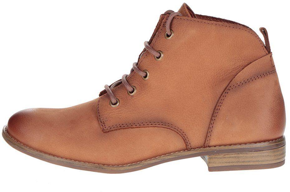 ba9ea4177 Svetlohnedé kožené členkové topánky na šnurovanie Tamaris značky Tamaris -  Lovely.sk