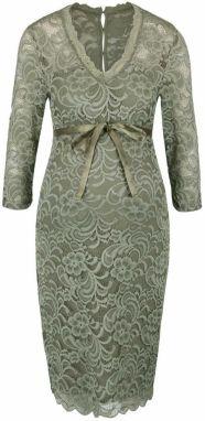 16b587b29ec8 Svetlozelené čipkované tehotenské šaty s 3 4 rukávmi Mama.licious Mivana