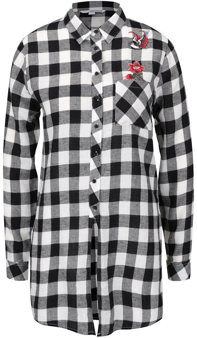 1805f25cc94c Čierno-biela dlhá kockovaná košeľa s nášivkou TALLY WEiJL značky TALLY  WEiJL - Lovely.sk