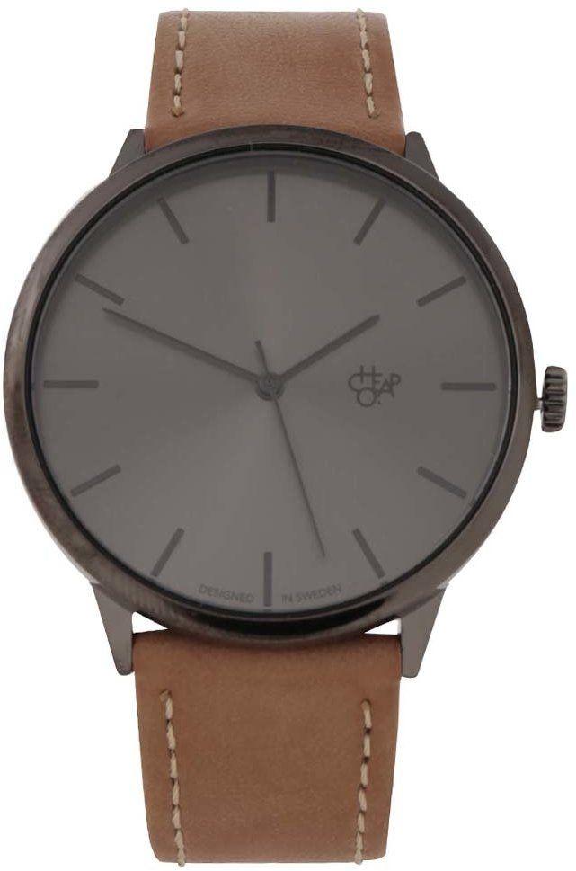 6778dd5d5c9 Sivé pánske hodinky s hnedým koženým remienkom Cheapo Khorshid Funk Metal  značky CHPO - Lovely.sk