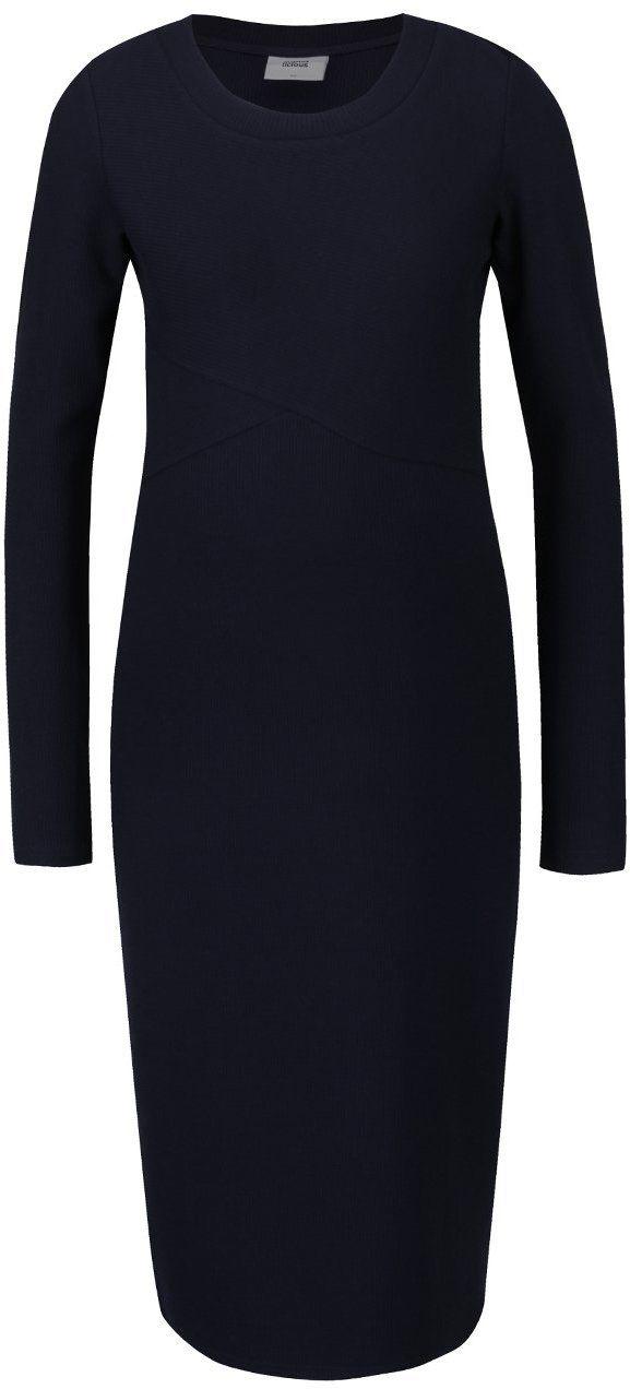 924180317409 Tmavomodré rebrované tehotenské šaty s dlhým rukávom Mama.licious Senia  značky Mama.licious - Lovely.sk