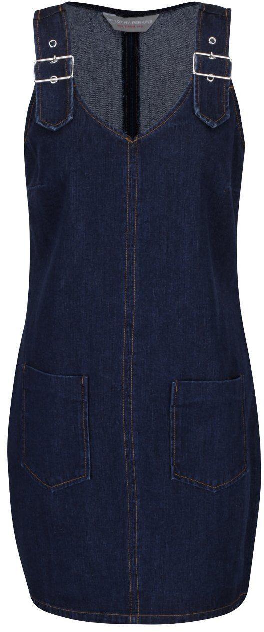 Tmavomodré rifľové šaty s trakmi a vreckami Dorothy Perkins Petite značky Dorothy  Perkins Petite - Lovely.sk 1d1e5dde613