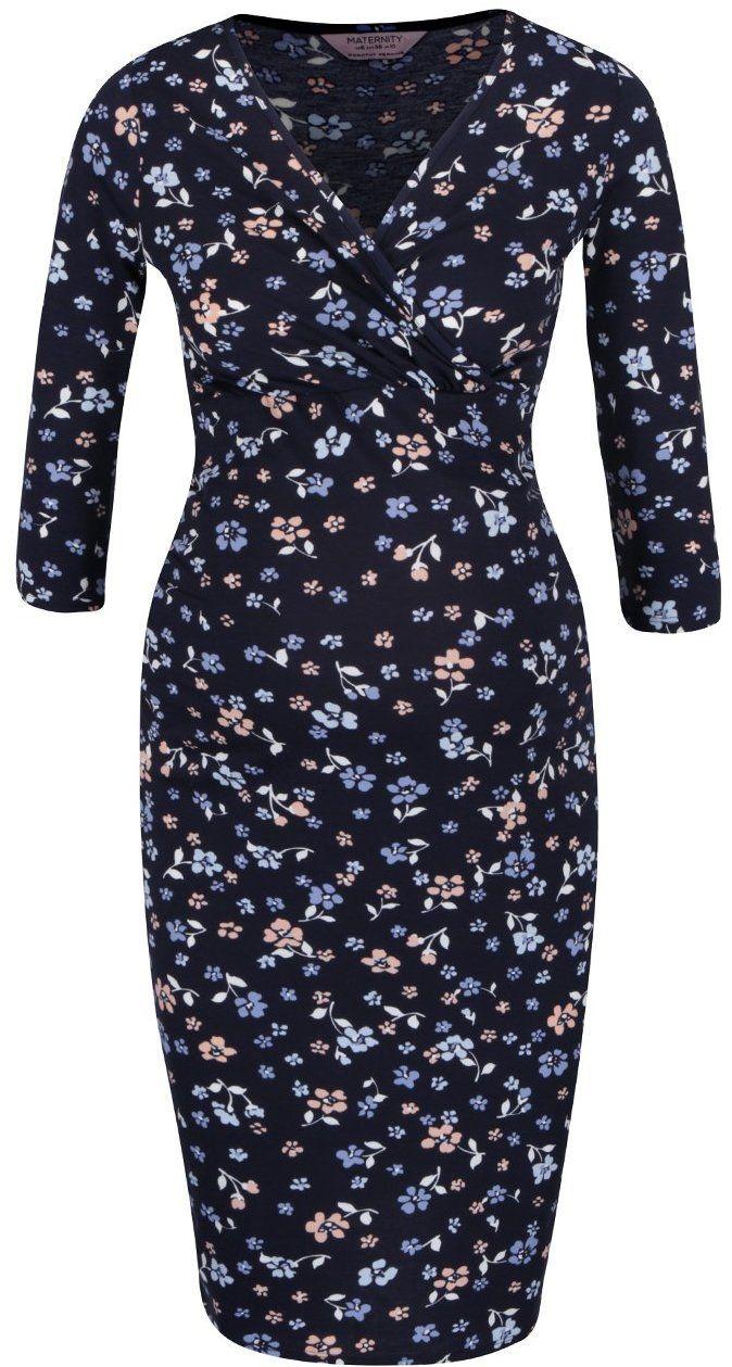 0f3835ec8da7 Modré tehotenské šaty s prekladaným výstrihom Dorothy Perkins Maternity značky  Dorothy Perkins Maternity - Lovely.sk