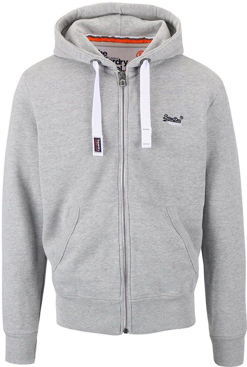 Sivá pánska mikina na zips s výšivkou Superdry značky SuperDry - Lovely.sk 49c4106f3a8