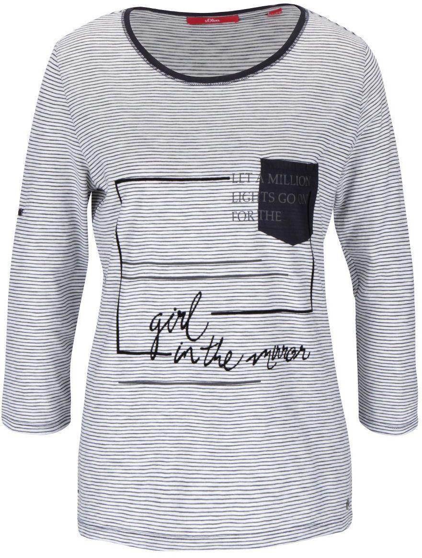 3b30ef96e044 Modro-biele dámske pruhované tričko s potlačou s.Oliver značky s.Oliver -  Lovely.sk
