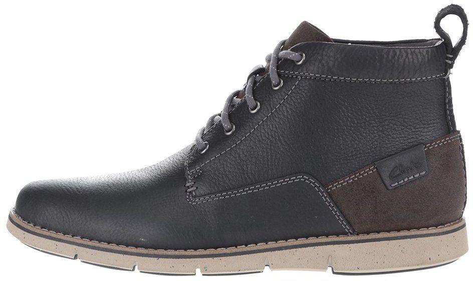 c4d09b2dfb41 Čierne pánske kožené členkové topánky Clarks Kyston značky Clarks -  Lovely.sk