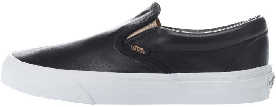 8e2fd5af8a123 Čierne dámske lesklé kožené slip on tenisky VANS Classic značky Vans -  Lovely.sk