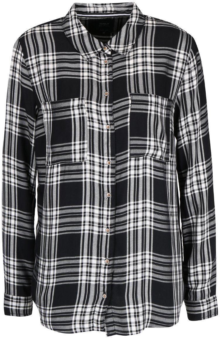 d4ae33cd6ff4 Bielo-čierna károvaná košeľa ONLY June značky ONLY - Lovely.sk
